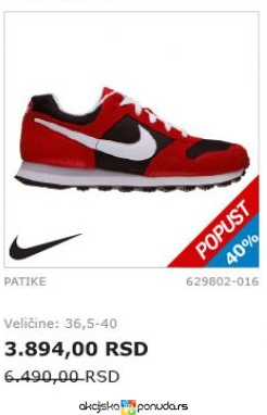 Nike ženske Patike Veličina 365 40 Cena Na Akciji Planeta